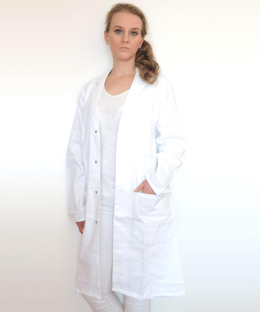 Damen-Laborkittel-weiß-Baumwolle-XS