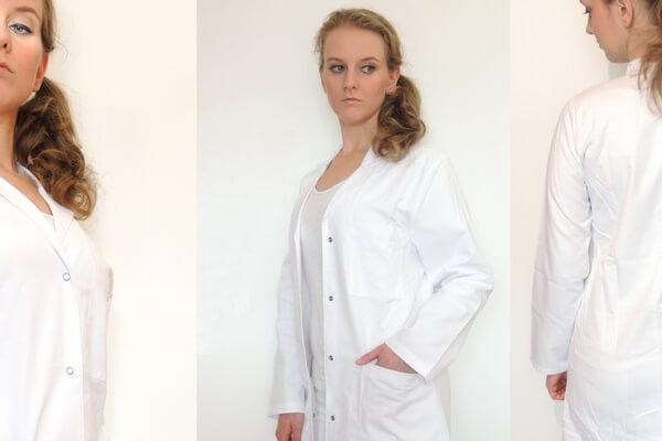 Hiza Damen Laborkittel Arbeitskittel weiß Reverskragen