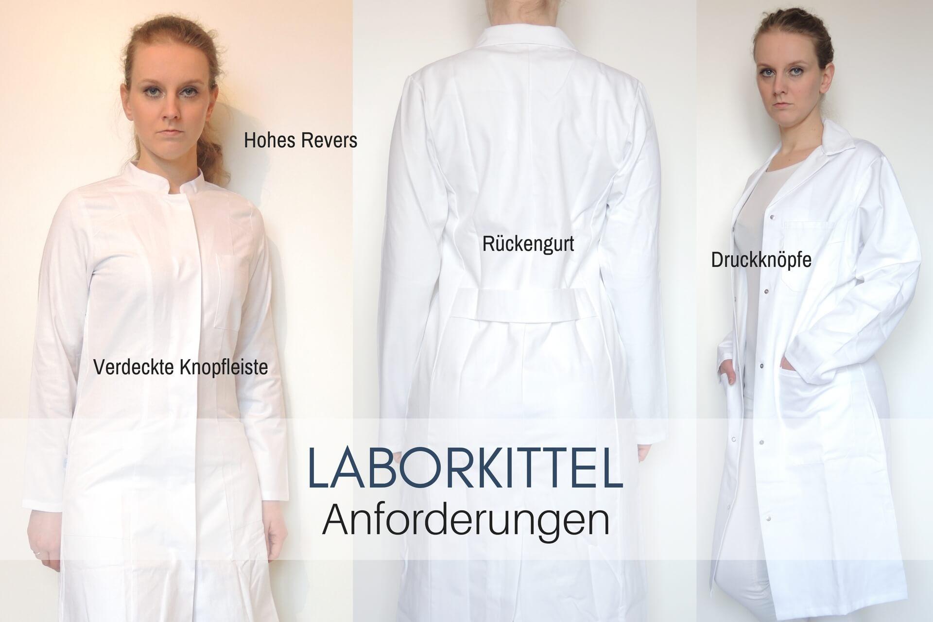 Laborkittel Anforderungen - Druckknöpfe Knielang Baumwolle