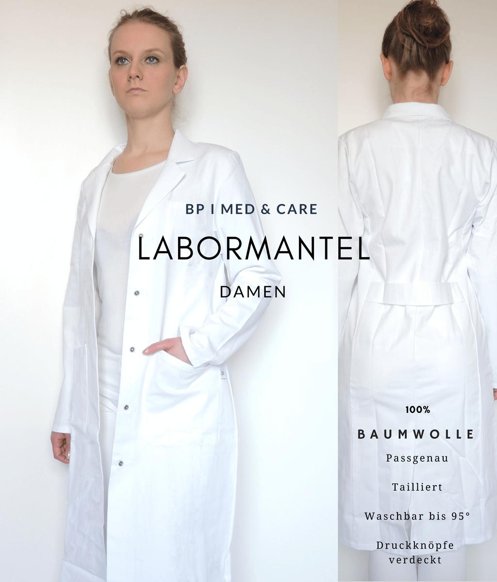 Laborkittel Damen tailliert - weiß 100 Baumwolle