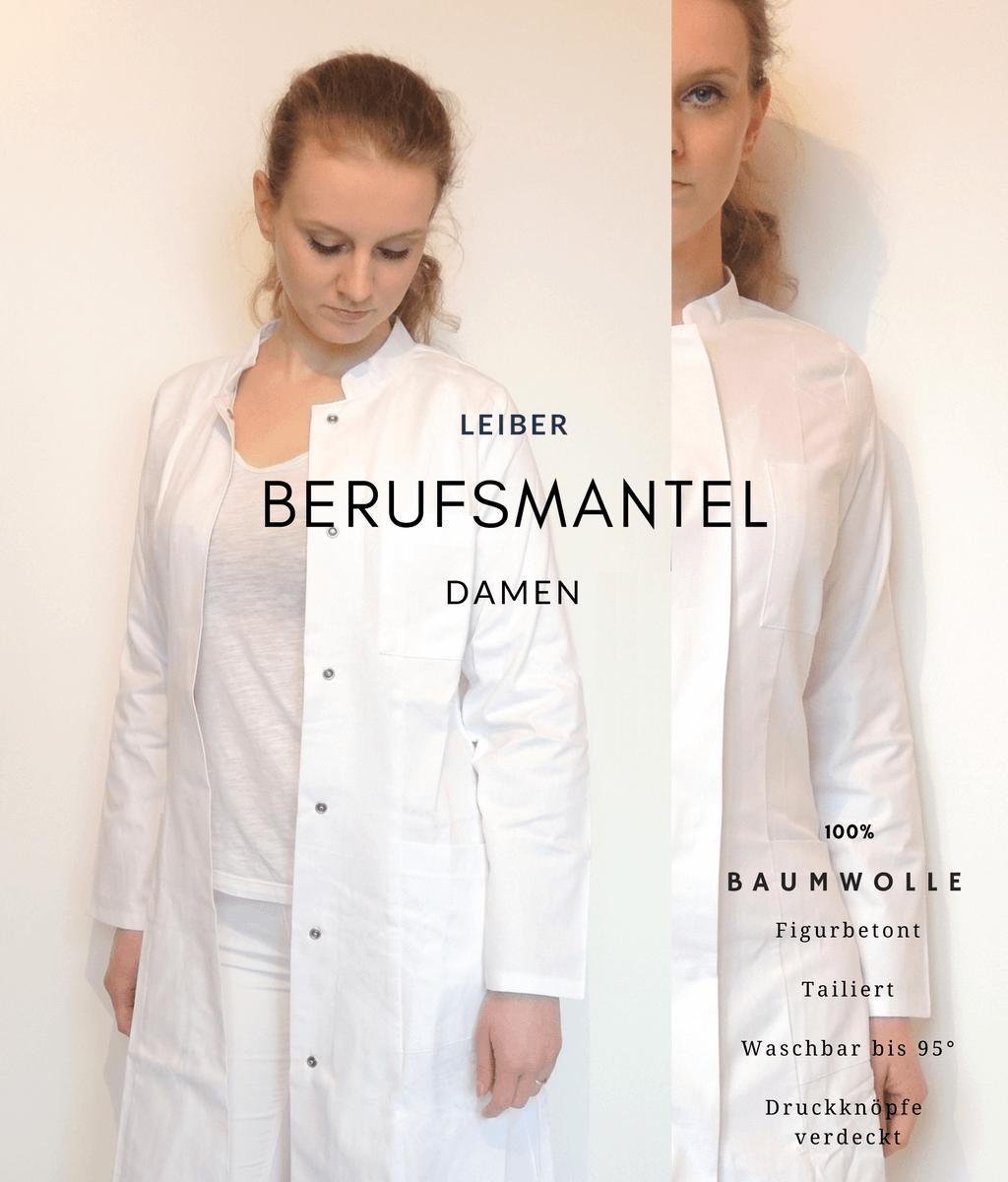 Leiber-Visitenkittel Damen Tailliert Laborkittel Baumwolle