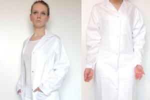 Kokott Damen Laborkittel mit Druckknöpfen Labormantel 100% Baumwolle