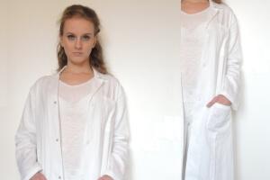 Studibedarf Laborkittel mit Rückengurt aus Baumwolle weiß Unisex Arm 1-1